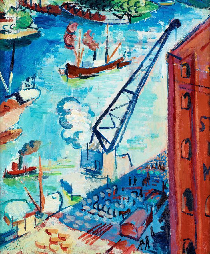 """ISAAC GRÜNEWALD, """"UTSIKT ÖVER STADSGÅRDEN MOT KASTELLHOLMEN"""". Signerad Isaac G. Utförd 1917. Duk 55 x 46 cm."""