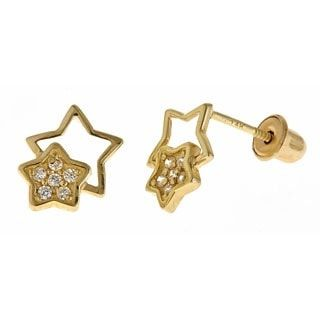 Double Star Screw Back Stud Earrings for Kids in 14K Gold from The Jewelry Vine