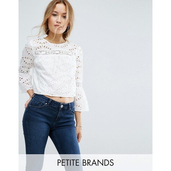 Miss Selfridge Petite Cut Work Blouse ($46) ❤ liked on Polyvore featuring tops, blouses, petite, white, petite blouses, petite white blouse, crew neck crop top, petite white tops and white embroidered blouse