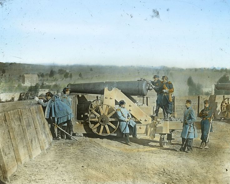 The weapons used during the Civil War included the Napoleon Field Gun, the Minie Ball and the Spencer Repeating Rifle. Pictured: General Daniel Butterfield and his company using a cannon. Butterfield was one of 1,522 recipients of the Medal of Honor during the Civil War.