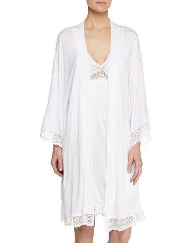 -5SYZ Eberjey  Colette Lace Chemise, White Colette Kimono Robe, White