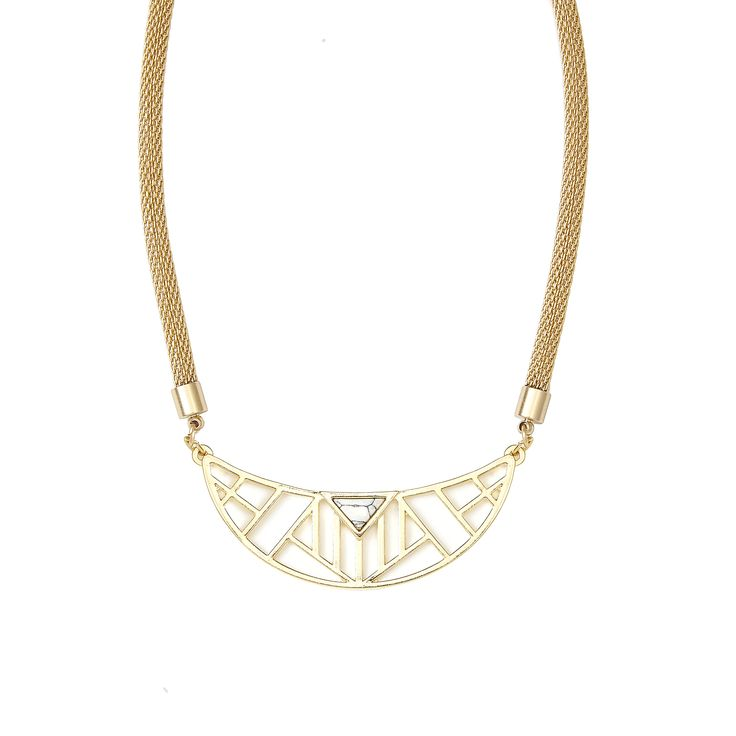Zenia Necklace in Gold - available in gold and silver. $40. #goldnecklace #goldjewelry #geometricnecklace #marblejewelry #marble #jewelrygift #statementnecklace