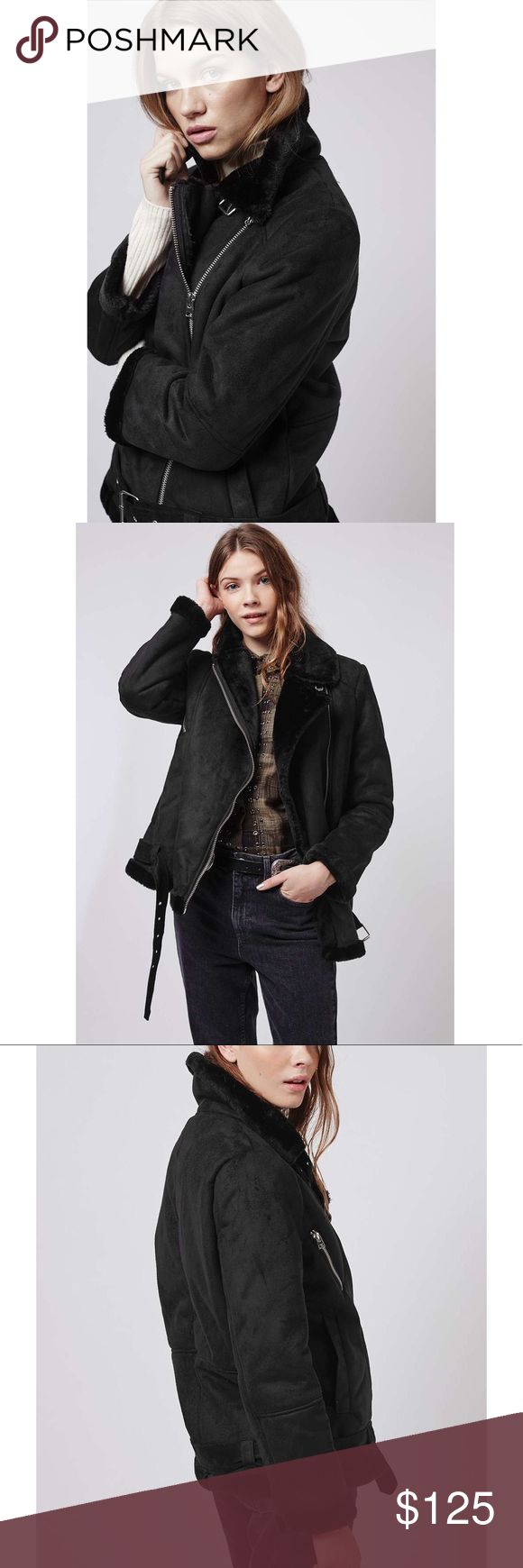 Topshop Faux Fur Aviator Jacket •Classic aviator biker jacket in faux fur.    •Size US6, will fit a Medium.  •New without tags.  •NO TRADES/HOLDS/PAYPAL/MERC/VINTED/NONSENSE. Topshop Jackets & Coats