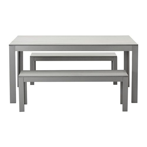 FALSTER, Table+2 benches, outdoor, grey $439