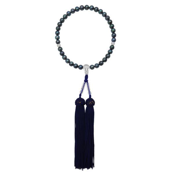 【アコヤ黒真珠念珠¥13,000】 アコヤ真珠7.0-7.5mm|素材人絹|吉川宝飾[yoshikawa-pearl]