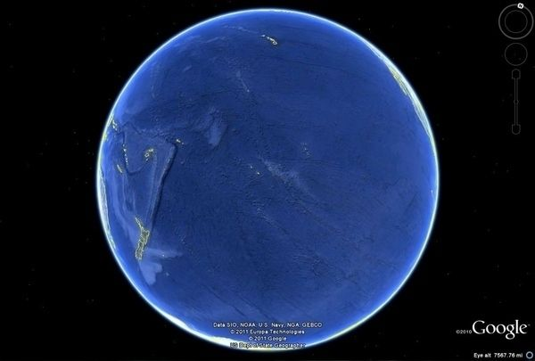 The Pacific Ocean as seen from space: