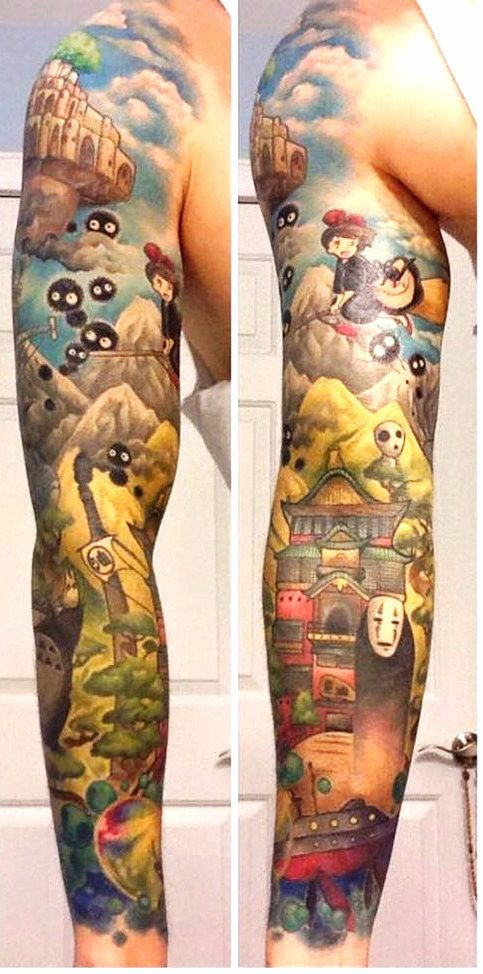 Amazing Miyazaki sleeve was a collaborative effort between Jean-Pierre and tattoo artist Andy Kurth. #ink #tattoo