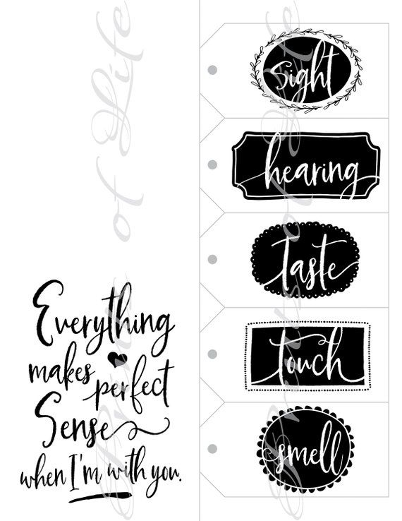 Five Senses Gift Tags Amp Card 5 Senses Birthday Instant