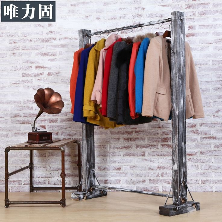 Retro hacer el viejo ropa perchero de madera estante for Colgadores de ropa para puertas