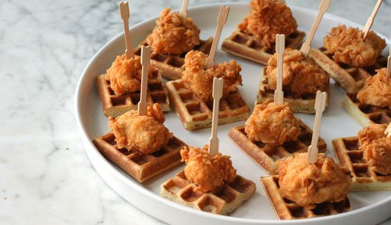 Kentucky Derby Party Recipes - finger food chicken and waffles!