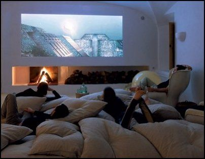 If I only have a small house, the movie room will be this simple. Just wall and pillows..no sofa or other expensive things. :p