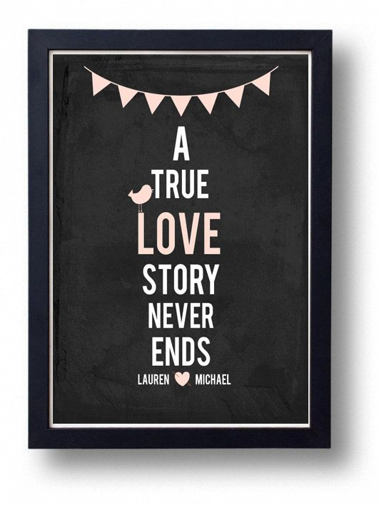 Wedding Sign, A True Love story-Pale pink Chalkboard  wedding  Banner Sign decor Art- -One Year Paper Anniversary Gift for Husband