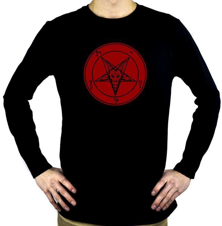 Occult Baphomet Symbol Men's Long Sleeve T-shirt Evil Black Metal Clothes