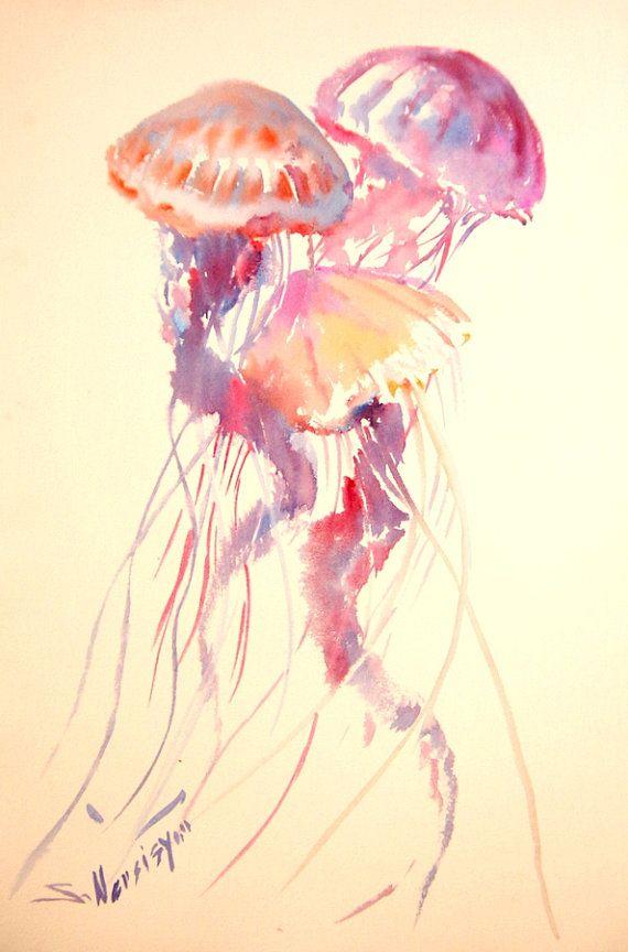 JellyFish 22 x 15 original watercolor painting sea by ORIGINALONLY, $61.00