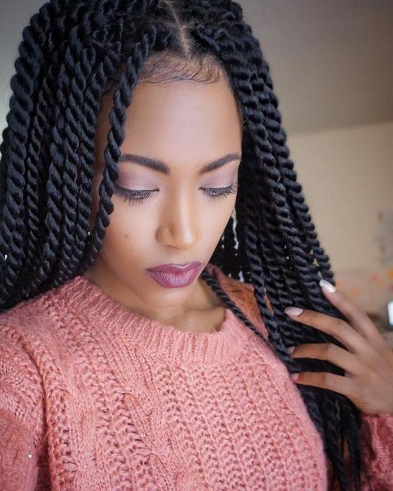 Luxe Coiffure Africaine Avec Laine Cheuveux De L Automne Hiver 2018 2019 Coiffure Coif Senegalese Twist Hairstyles Twist Braid Hairstyles Rope Twist Braids
