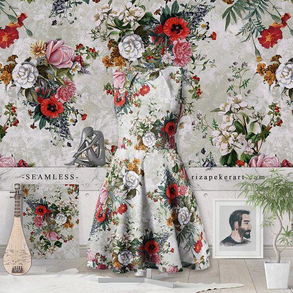 Botanical Flowers IV Seamless Pattern #botanical #prints #patterns #wallpapers