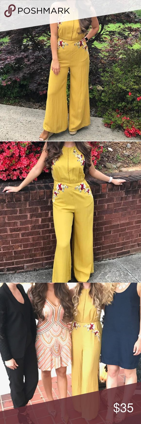 Embroidered mustard jumpsuit STUNNING! I purchased this from a boutique in my town and it is guaranteed to turn heads at any event! This jumpsuit sells similar at Dillard's for $169!!!! This is in excellent pre used condition. It ties at the neck and zips in the back. It is backless. Seriously received endless comments on this at the event I attended. (It also his my boot from my surgery) I am 5'7 for reference. Dresses Backless
