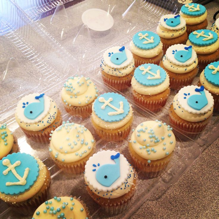 nautical cupcakes #babyshower #whales #anchors