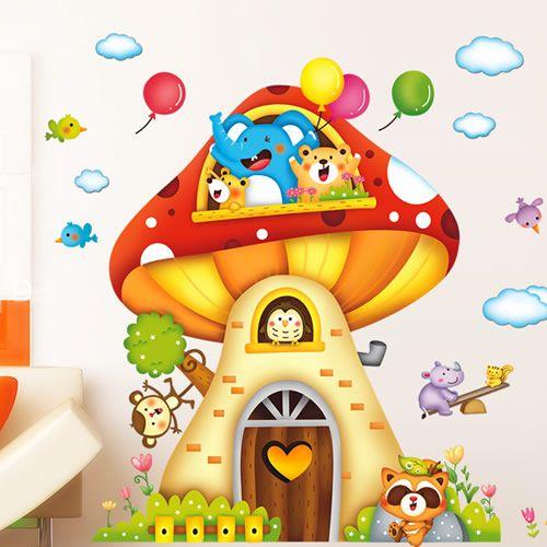 adesivi murali rimovibile casa fungo cartoon bambino baby room pareti decorate adesivi murali camera da letto