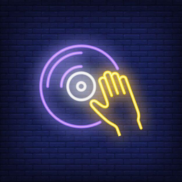 Vinyl Disk With Hand Neon Sign Free Vector In 2019 Neon