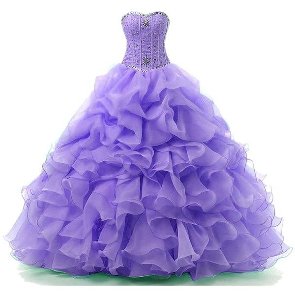 Himoda Women's Sweetheart Ball Gown Beaded Prom Quinceanera Dresses... ($99) ❤ liked on Polyvore featuring dresses, gowns, long purple dress, long gown, long prom gowns, quinceanera dresses and purple homecoming dresses