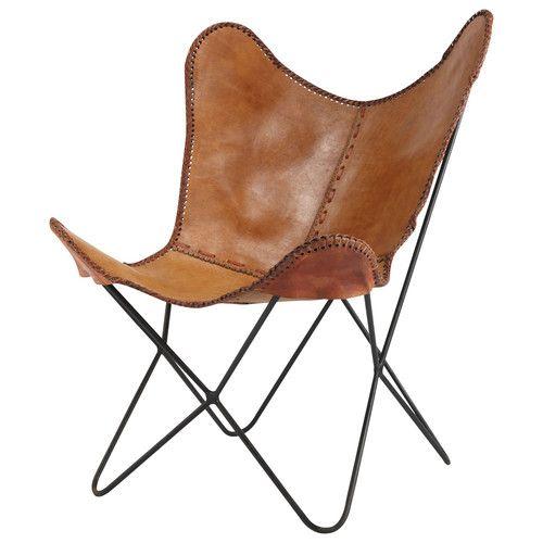 I think this is the cheapest I have seen. €179,90 #butterfly chair #maisondumonde Camelkleurige leren zetel