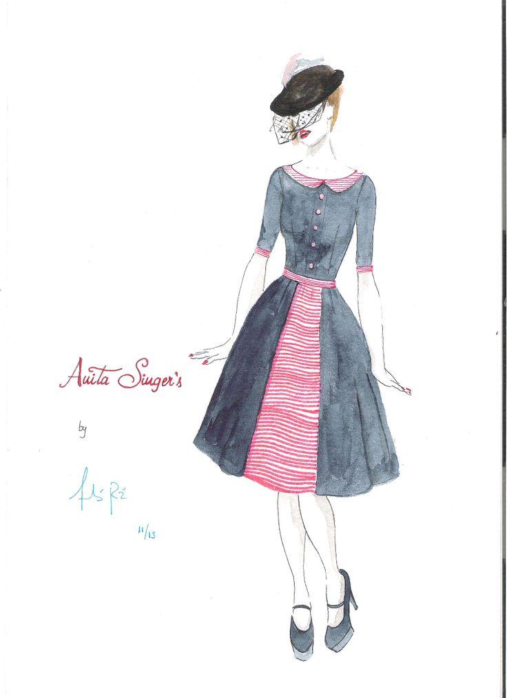 Ilustracion Vestido Almudena By Anita Singers. por Andres Ruiz Ilustrador. www.facebook.com/pages/Anita-Singers/565541916806170