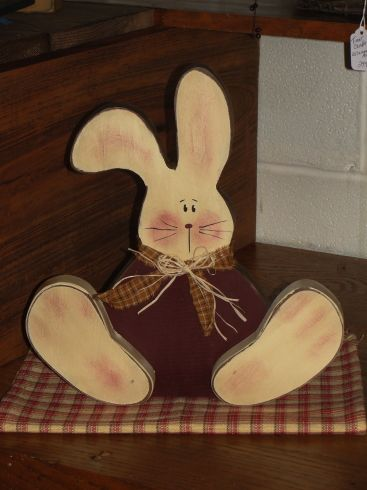 Primitive Spring decor, Country Bunnies, Handmade Spring Decor, Wood Ruffles and lace Primitives