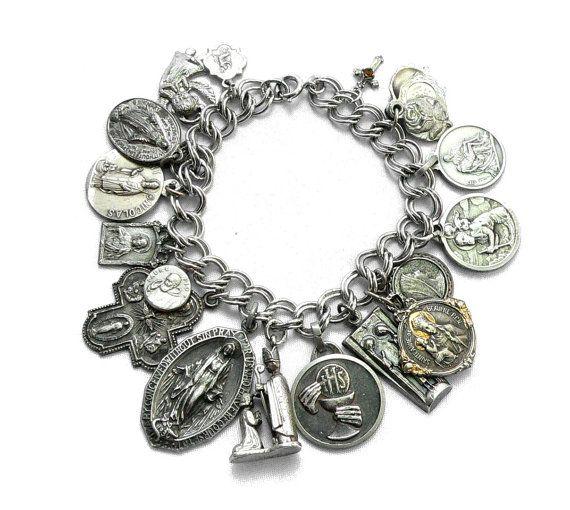 Christian Charm Bracelets: Religious Medals Charm Bracelet Sterling Silver Antique