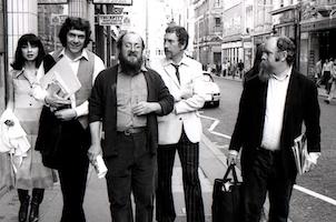 Brotherhood of Ruralists, Old Bond Street. Left-to-right: ?, David Inshaw, Graham Ovenden, Graham Arnold, Peter Blake