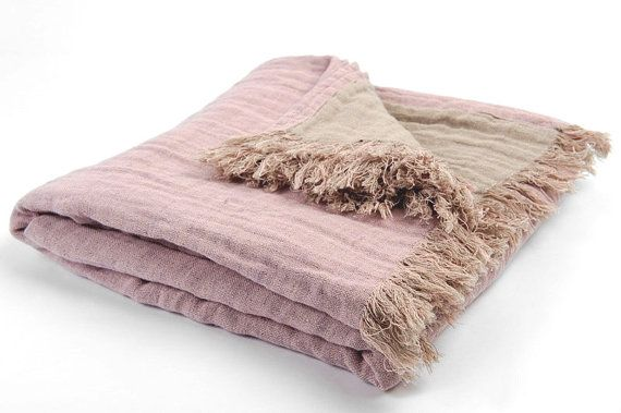 Ready to ship, free shipping- Dusty pink linen blanket, pink plaid, lilac linen blanket, linen bed cover, pink bed plaid, bed cover, flax.  $74.31.  Handmade.  Color: dusty pink and dusty brown (dusty taupe).  Size: 130 x 200 cm or 51 x 79 inches (plus fringes on 2 shorter sides x 5 cm)