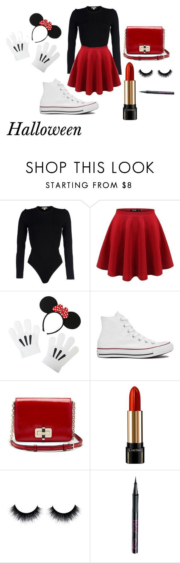 """Minnie Mouse Halloween Costume"" by deshae27 ❤️ liked on Polyvore featuring Michael Kors, Disney, Converse, Diane Von Furstenberg, Lancôme and Barry M"