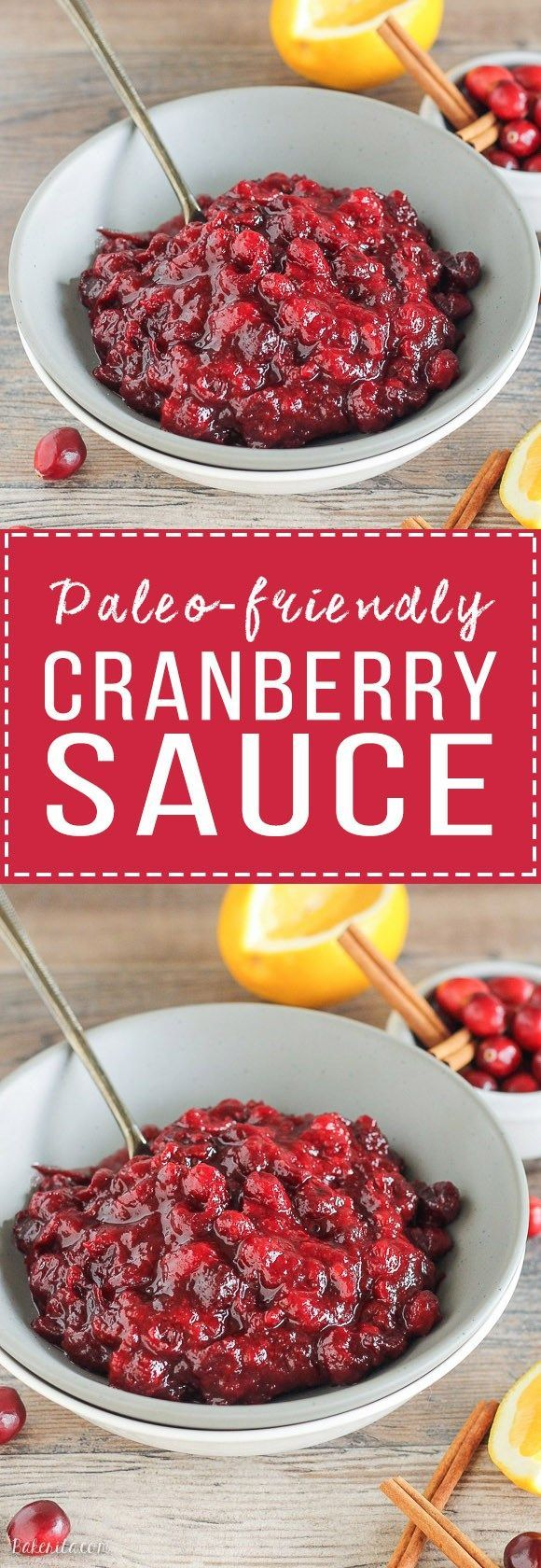 This Paleo Cranberry Sauce is sweetened with maple syrup to keep it refined sugar free. Orange zest and warm spices give this cranberry sauce incredible flavor, and it's done in 15 minutes.