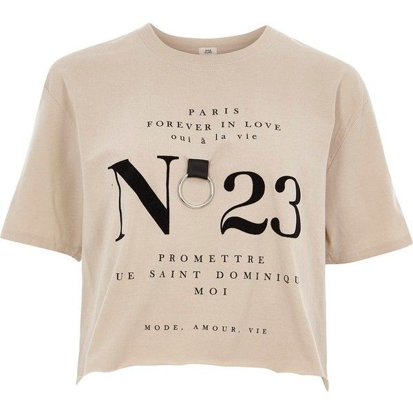 River Island Beige 'no 23' ring cropped T-shirt ($40) ❤ liked on Polyvore featuring tops, t-shirts, beige, print t-shirts / vests, women, short sleeve crop top, crew neck t shirt, pink tee, j.crew vest and crew neck tee