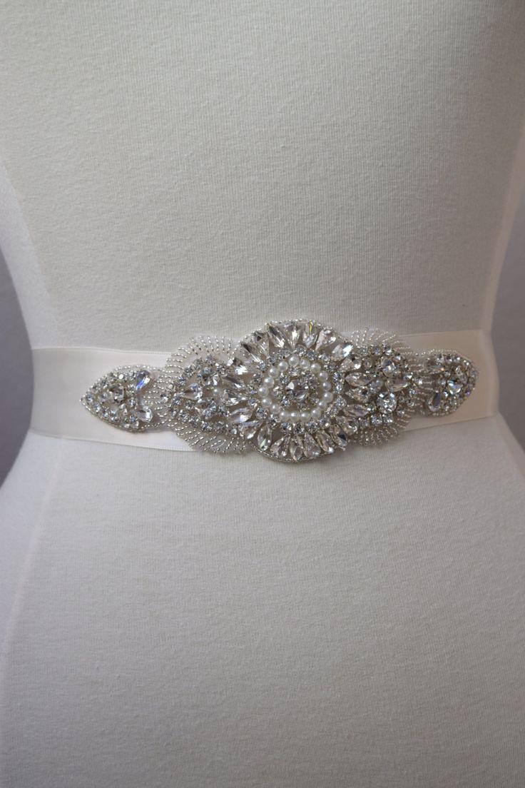 Handmade crystal bridal belt rhinestone pearl luxury wedding dress - Crystal Rhinestone And Pearl Bridal Belt On Satin Sash Thick Bridal Belt Wedding Accessories