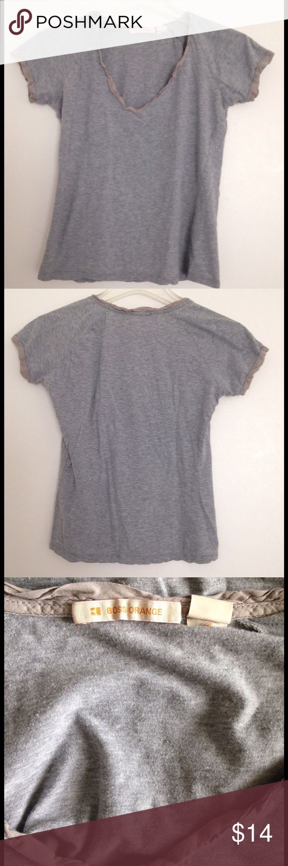 """Boss Orange Grey cotton tee with trim - size XS Cotton grey tee as pictured. V- neck. Neckline and sleeve trim. 21"""" long. BOSS ORANGE Tops"""