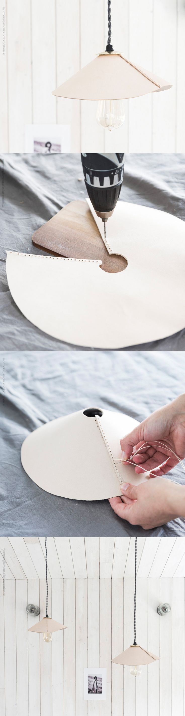 How to make a lampshade in leather. Gloucestershire Resource Centre http://www.grcltd.org/scrapstore/