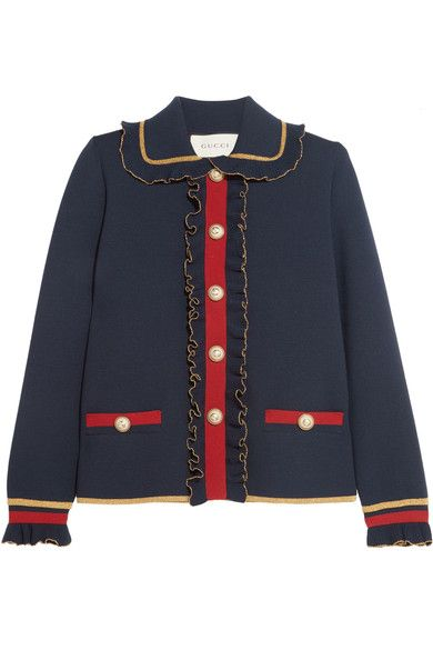 Navy, red and gold merino wool-blend Snap fastenings through front 93% wool, 7% polyester Dry clean Made in Italy