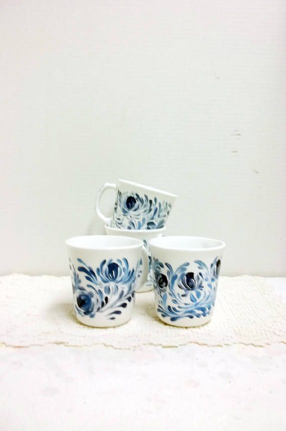 Vintage Stoneware Mugs Hand Painted Blue and White