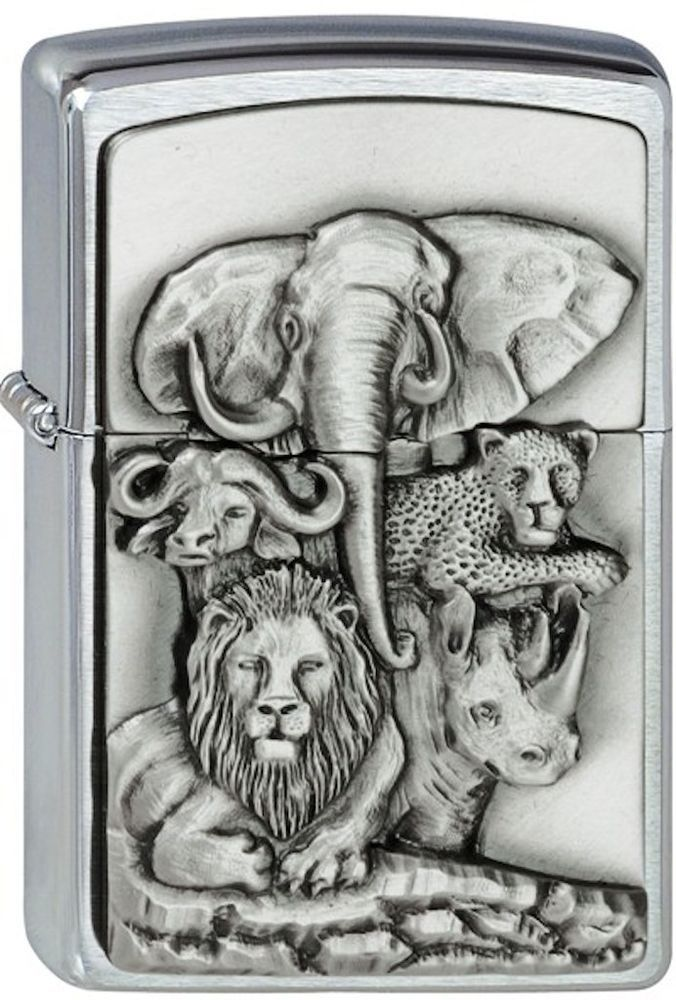 Zippo Lighter Emblem - The Big Five No 1300189 - New brushed chrome finish