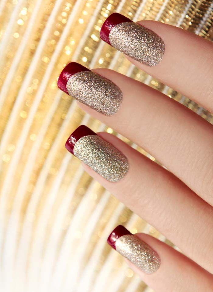El rojo y el oro brillantes Nails - aman la punta roja, tan lindo!