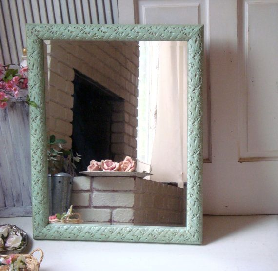 Large Green Mirror Mint Green Ornate Mirror by WillowsEndCottage