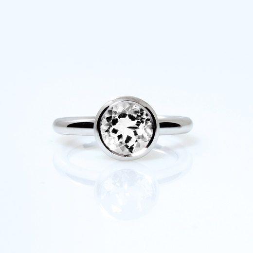 Clear quartz ring, palladium, engagement ring, bezel, solitaire, Palladium engagement, quartz engagement, promise, white gemstone ring