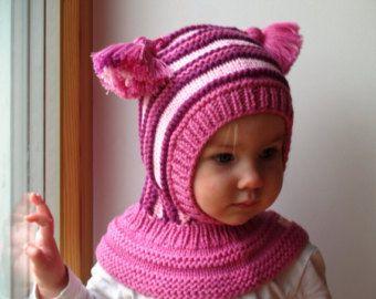 ¡LISTO el BARCO PARA los tamaños 6-10y! Sombrero de pasamontañas de lana Merino, bebé / niño con capucha sombrero con pompones, sombrero rosa
