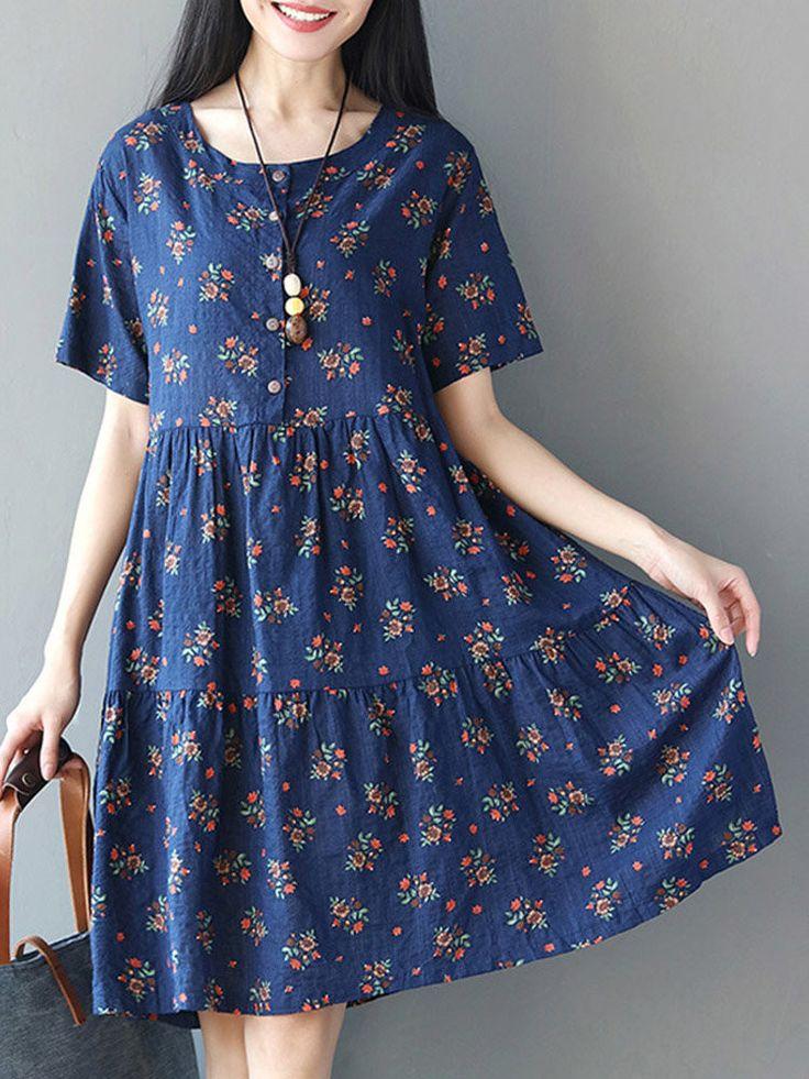Vintage Floral Printed Short Sleeve High Waist Women Dresses