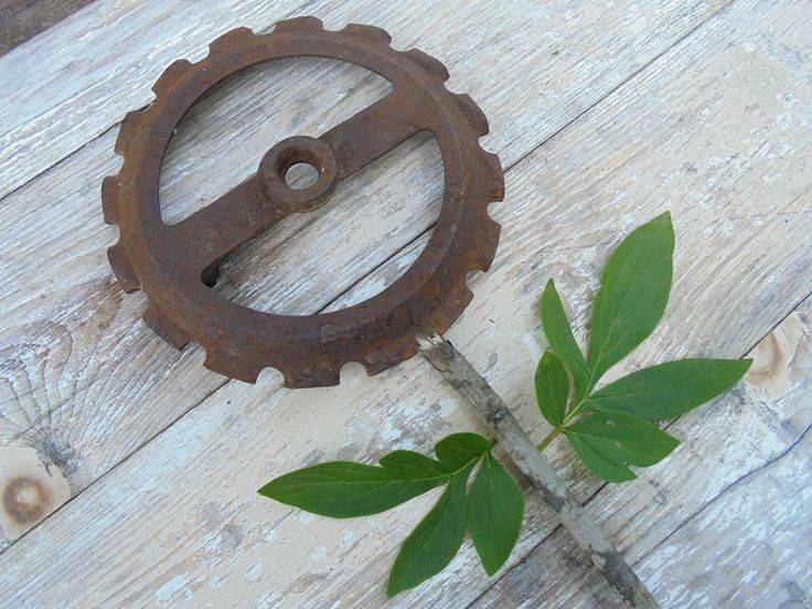 Salvage Rusty Gear, Industrial Steampunk Decor, Rusty Mechanical, Metal Sculpture Supply, Rustic Metal Art Supply by Imperfetions on Etsy
