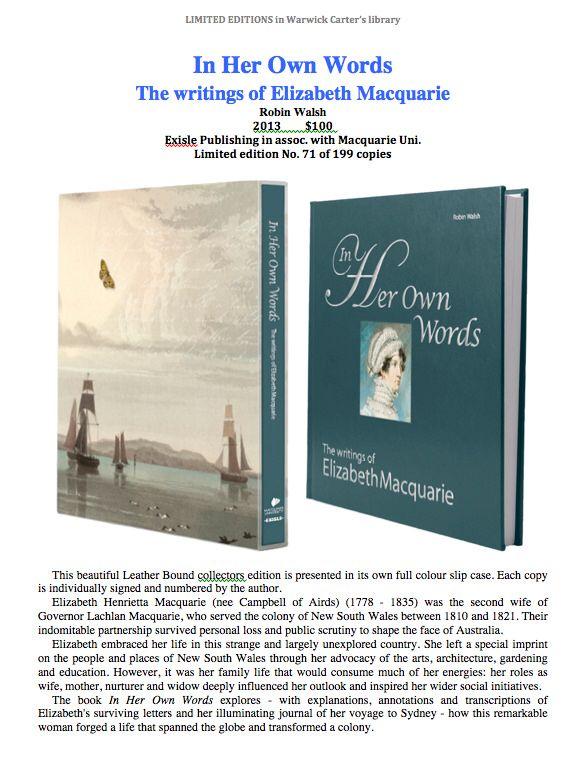 In Her Own Words The writings of Elizabeth Macquarie - Exisle Publishing