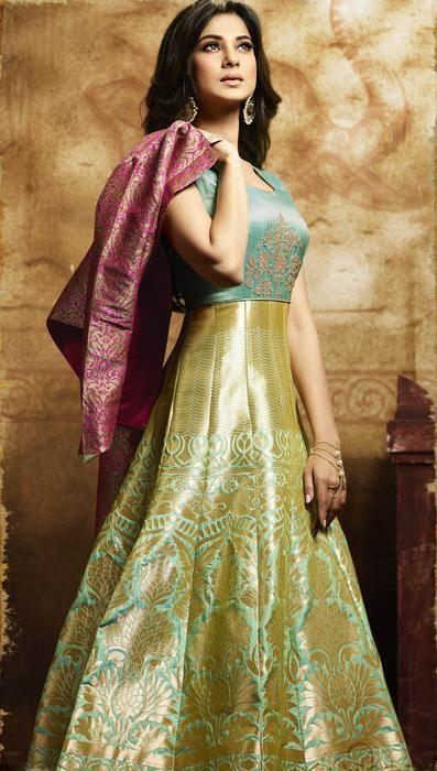 3d165a1b87 Jennifer Winget Golden Green Banarasi Silk Salwar Kameez With Pink Jacket  (471-11009)