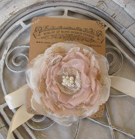 Burlap Corsage  Wedding  Accessory by by BurlapandBlingStudio, $15.00