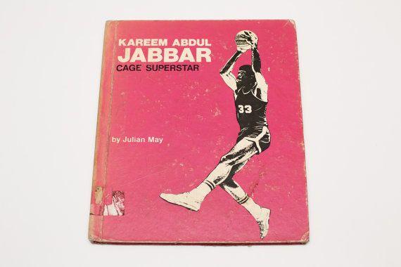 Vintage 1973 Kareem Abdul Jabbar Cage Superstar HC Book, Julian May, Hot Pink, NBA History